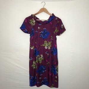BODEN Maroon Floral Mid-length Dress Size: 4P